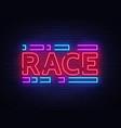 race neon sign racing design template neon vector image vector image