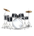 real black drum set on a white background vector image