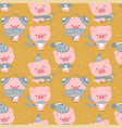 seamless cute celebrated baby pig blue pastel cart vector image