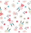 Seamless pattern with cute rabbits and flowers