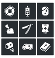 set drug overdose icons help dose vector image