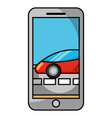 smartphone gps navigation car on road vector image vector image