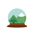 snowglobe tree mountain snow decoration happy vector image vector image
