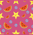 summer seamless pattern of smiling stars vector image