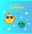 summertime poster with planet characters wearing vector image vector image