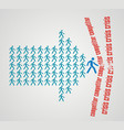 teamwork concept - the crowd of workers follows vector image