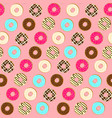 tender pink pattern with tasty topping donuts vector image