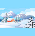 winter house landscape rural scene with snowy vector image vector image