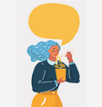 woman character eating noodles vector image