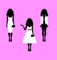woman with long hair model silhouettes vector image