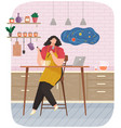young woman cooking salad in kitchen room stands vector image vector image