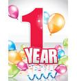 1 year birthday card vector image