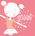 beautiful ballerina dancer ballet pink background vector image