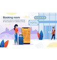 booking hotel with cellphone app banner vector image vector image