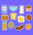 breakfast fresh food and drinks flat icons set vector image vector image