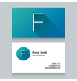 business card letter F vector image vector image