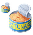 canned tuna fish isolated on white background vector image