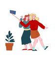 cheerful young women making selfie photo on mobile vector image