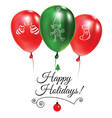 christmas post card with green and red balloons vector image vector image