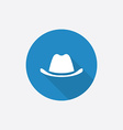 classic hat Flat Blue Simple Icon with long shadow vector image vector image
