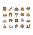 color line icon round set india culture vector image vector image