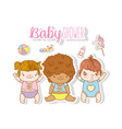 cute babies with entertainment toys and diaper vector image vector image