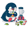 cute penguin and smoothie vector image