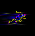 glowing sprinter runs at night vector image vector image