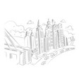 hand drawing of city life vector image vector image