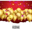 happy birthday card with golden balloons vector image