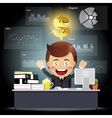 Happy businessman working with data processing vector image vector image