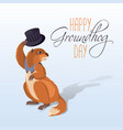 happy groundhog card vector image