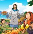 jesus deliver food vector image vector image