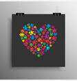 many colorful piece puzzle heart jigsaw logotype vector image