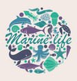 marine life icons in form a circle vector image vector image