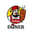 mascot seller turkish food doner kebab vector image vector image