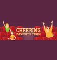 people cheering favorite team on stadium on match vector image