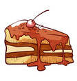 piece layer cake gateau with buttercream vector image