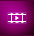 play video icon isolated on purple background vector image vector image