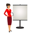 Pr specialist is standing next to the stand vector image vector image