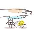 protecting big hand - cartoon man with piggy bank vector image