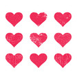 red grunge hearts distressed texture heart set vector image
