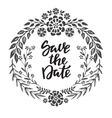 Save the date card with hand drawn floral wreath vector image vector image