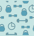 seamless pattern with gym icons - blue background vector image vector image