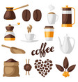 set coffee icons food vector image