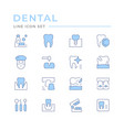 set dental related color line icons vector image