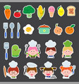 set of chef kids and kitchen elements vector image vector image