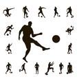 set soccer silhouette vector image