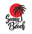 Sunny beach lettering phrase with palm icon