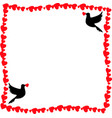 template with doves and copy space for valentines vector image vector image